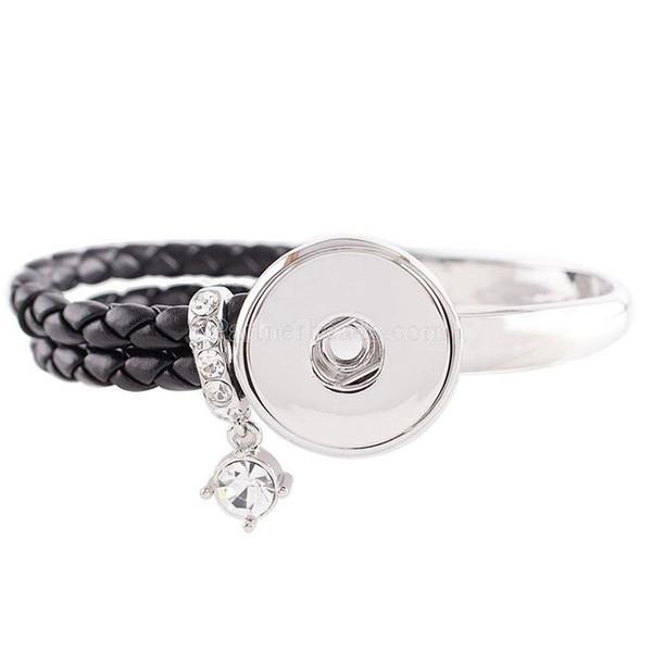 Wholesale-Partnerbeads Hot Sale Snap Bracelet Fashion DIY Charms Bracelet&Bangles Snap Buttons Jewelry Angel Bracelet Silver KC0605