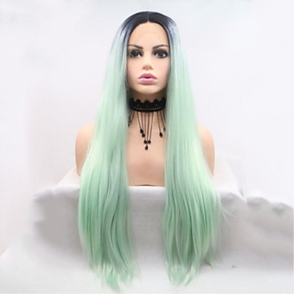 Sweetheart High Temperature Fiber 2 Tones Cosplay Long Straight Black Ombre Green Wigs Middle Part Heat Resistant Synthetic Lace Front Wigs