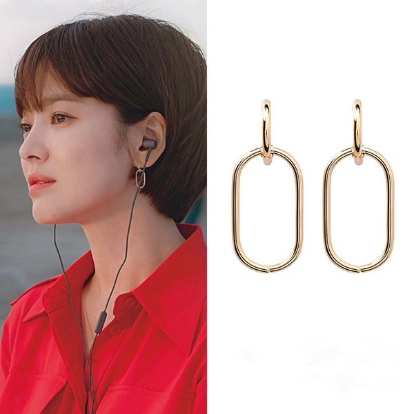 Korean Star New TV Fashion Women Metal Oval Shaped Dangle Earrings Geometric Elegant Circle Simple Pendientes Girl Jewelry Gift