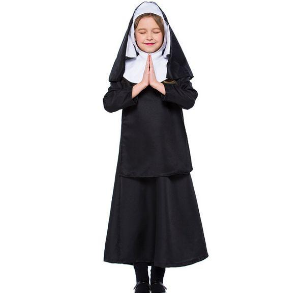Compre Vestidos De Monja De Halloween Para Niñas Vestido De Chal Con Capucha Negro Vestido De Manga Larga Cosplay Uniforme De Traje Escolar Para Bebé