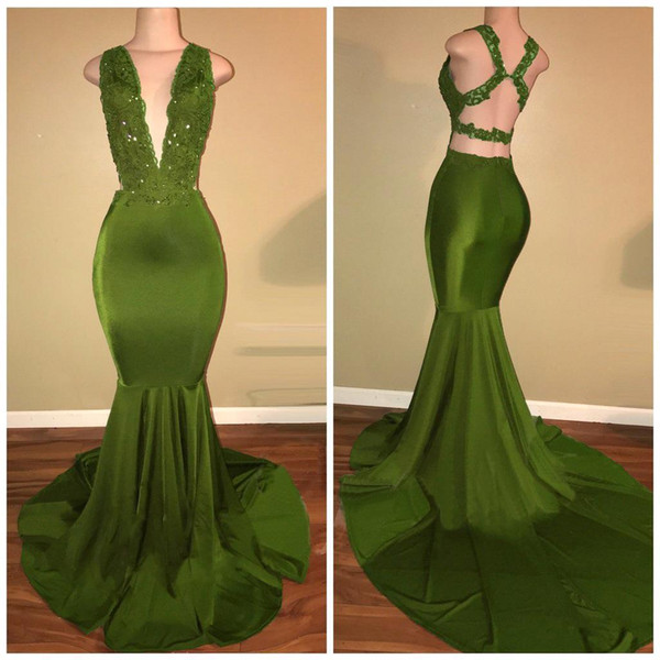 2018 African Olive Green Mermaid Prom Dresses Satin Beaded Lace Appliqued Sweep Train Arabic Evening Party Gowns BA7993
