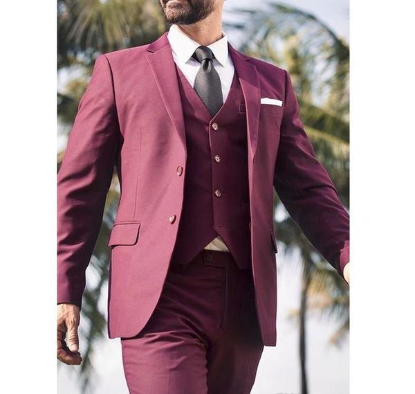 TPSAADE 2019 Borgonha Homens Ternos Do Casamento Entalhado Lapela Blazer Estilo Casual Três Peças Jaqueta Colete Colete Feito Sob Medida Terno Masculino
