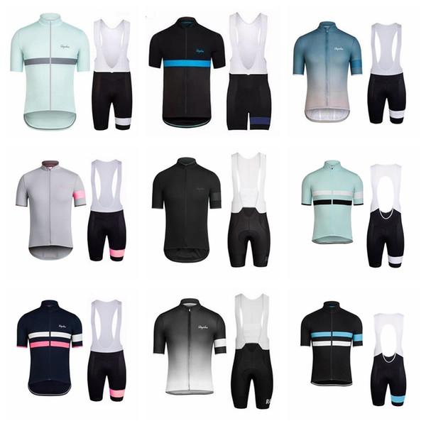 RAPHA ekibi Yaz Bisiklet Jersey Önlük Şort setleri Mens Kısa Kollu Hızlı Kuru Tam Fermuar Giyilebilir Nefes Sürme giyim Q71215