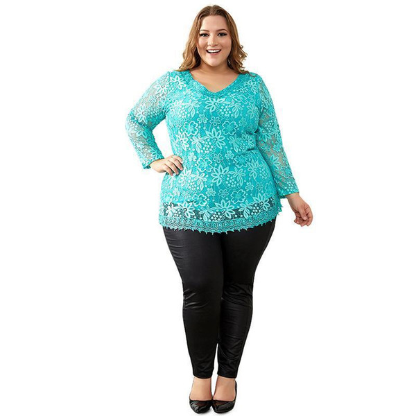 Women Plus Size Big Yards Tops Femme Elegant Floral Lace Spring Autumn T-Shirt Elastic Cotton Tee Shirts 6xl 6xl 8xl Female