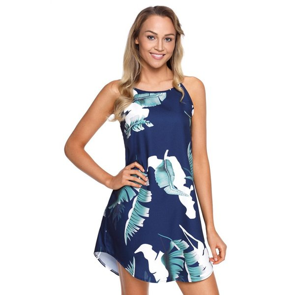 Women's Dresses Cute Printed Sexy Sling Round Neck Sleeveless Hem Curved Design Dress 6 colors free shipping