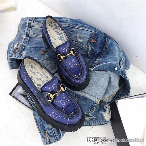 2019 Bee platform shoes with copper horse buckles ,Make someone look slimmer womens restoring ancient ways casual shoes With box