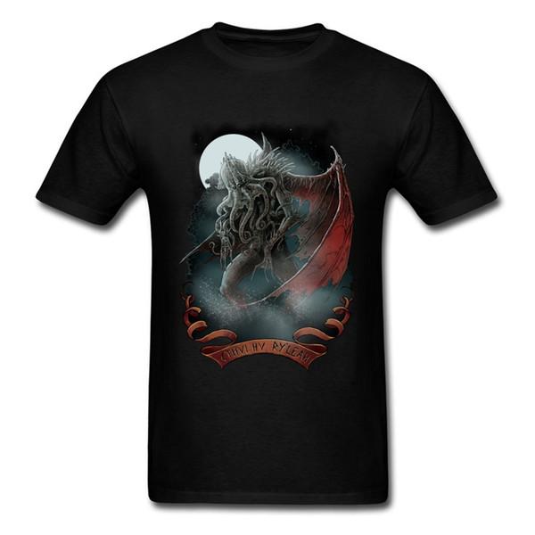 Осень Зима Совершенно новый дизайн с коротким рукавом Топы Футболка Натуральный хлопок Мужчины Tshirts Ктулху Demon Дизайн футболки Мода Прохладный