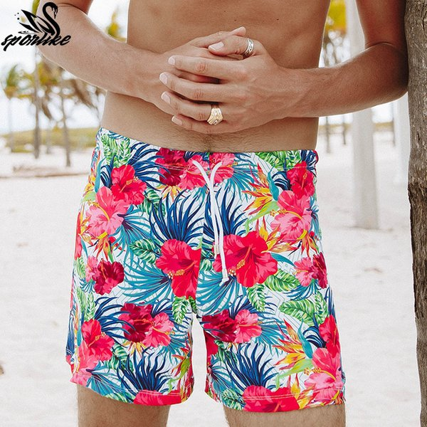 Nuove stampe Beach Shorts per uomo Surf traspirante Costumi da bagno Quick Dry Swim Trunks Pants con tasca slip maschili Costume da bagno Y19051801