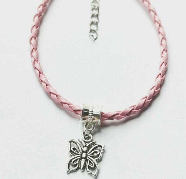 Tibetan Silver Butterfly Charm Bracelets Woven PU Leather Bracelets &Bangle Jewelry Fashion Best Friends Friendship Gift Accessories