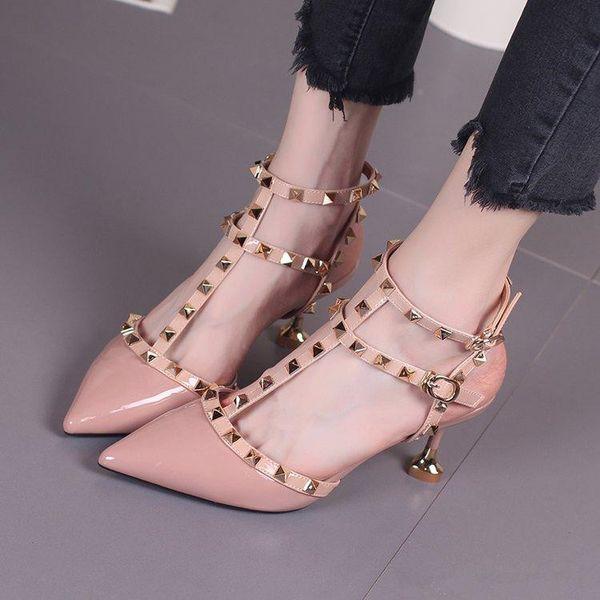 2019 fetiche pantalón rojo tacones altos zapatos de mujer zapatos de boda Remache mary jane bombas escarpins femme señoras lolita gladiador sandalias mujeres