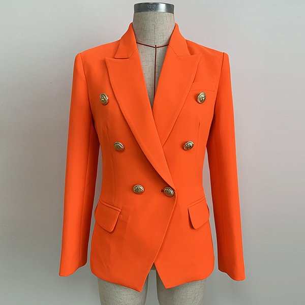 Más nuevo 2019 Baroque Designer Women Lion Buttons Coat Otoño chaqueta de doble botonadura Neon Orange traje pequeño J1