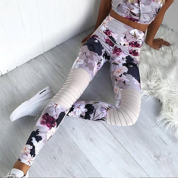 Оптово-Женщины Йога костюм Crop Top с Pants Цветочный печати рукавов высокого талии набор одежды DX88