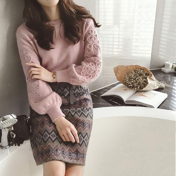 Mulheres de inverno coreano bordado camisola de tricô + duas peças Tweed lã 2 peças conjunto de impressão geométrica saia
