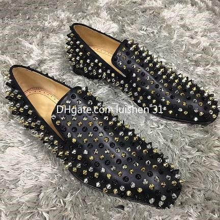 Brand Red Bottom Loafers Luxury Party Wedding Shoe Designer BLACK PATENT LEATHER Suede Spikes Studded dress casual shoes for mens shoe