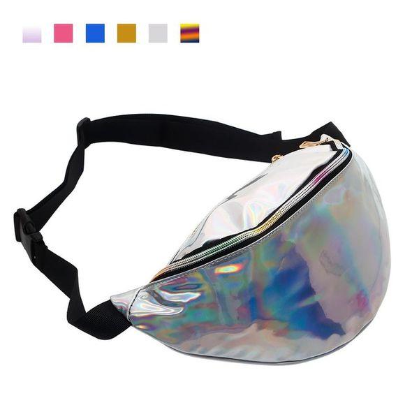 silver pu waist bag