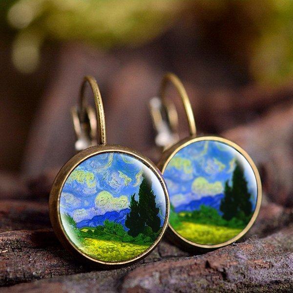 ewelry Accessoires Mode Bronze Farben-einfache Art-Ohrringe Van Gogh berühmten Künstlers Starry Night Ohrstecker Glascabochon Schmuck ...