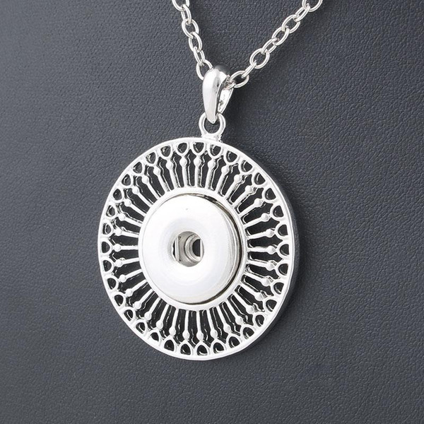 Classic Round alloy 18mm snap button necklace & pendant jewelry with Link chain statement woman suspension DIY jewelry ZG038