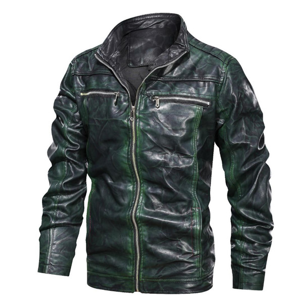 Brand Tactical PU Leather Jacket Men Euro Size S-XXXL New Stand Collar Retro Motorcycle Leather Jacket Male Jaqueta De Couro
