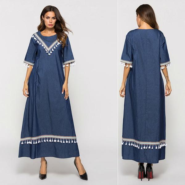 Freies Verschiffen-elegante dünne lose Größe Abaya die Türkei-moslemische Kleidfrauen-moslemische Robe-Kleid-blaue Denim-Quasten-Sommer-lange Kleider