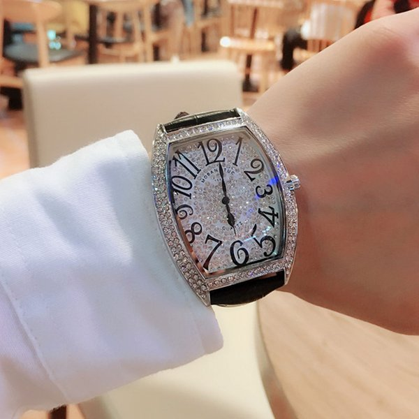 Full Diamond grand cadran Montre Homme unisexe Place Montre Femme Mode strass Cuir Relogio Masculino Femme Homme