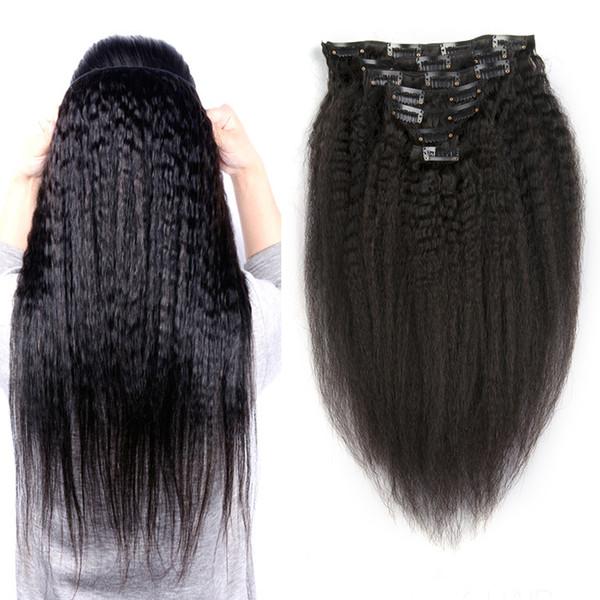 Kinky Clip recto brasileño en extensiones de cabello humano Virgin Hair 120g Yaki grueso Clip Ins hecho a máquina Extensiones de cabello humano Remy