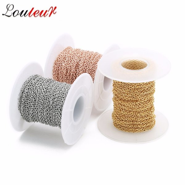 wholesale 10yards/roll 1/1.5/2/2.5/3mm Silver/Gold/Rose Gold Men Stainless Steel Bulk Chains Women DIY Jewelry Making Materials
