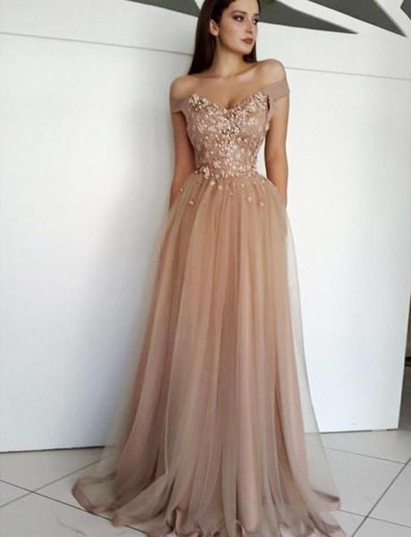 2019 Off Shoulder Prom Dress Elegent Appliqued Evening Formal Party Dresses A-line Princess Pageant Dress Custom Made