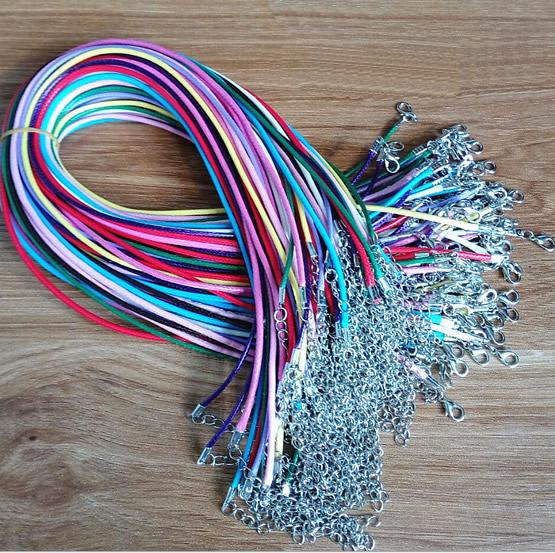 wax rope 50pcs/lot 17-19 Inch Adjustable mixed colors Necklace Korea Wax rope Cord String 1.5mm 2.0mm For DIY Jewelry Making (K05343)
