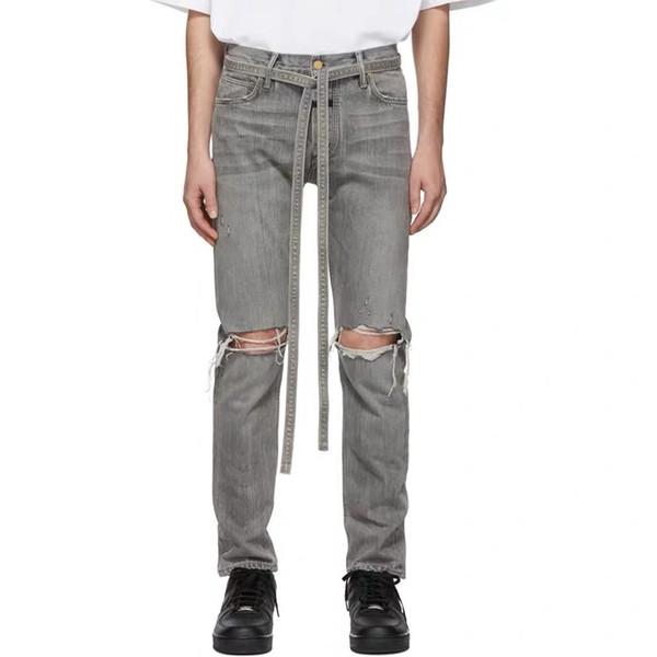 2019 FG 6TH Collection Style Uomo Strappato Corda Jeans Denim Hiphop Streetwear Uomo Skinny Fit Jeans Denim Pantaloni Pantaloni Riri Zipper