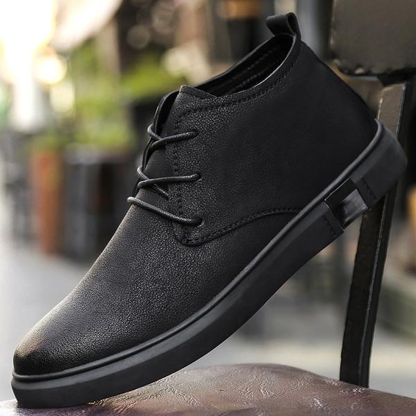 Acheter Bottines Pour Hommes D'affaires Chukka Hommes Bottes High Top Casual Chaussures En Cuir En Plein Air Hommes Hiver Chaussures Homme Walker Peak