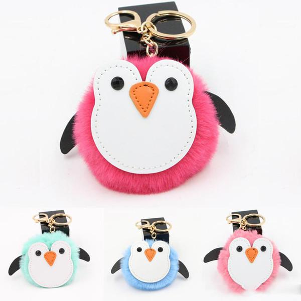 Vendita calda 2019 mini portachiavi portachiavi catena di metallo carino pinguino peluche auto bag catene fascino catena chiave pendente del telefono mobile