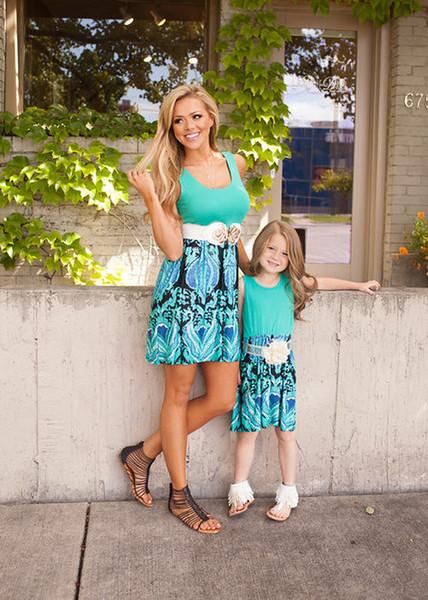 Cheap Mother Daughter Casual Dress Cotton Women Sleeveless Halter Stitching Print Skirt Beach Party Maxi Dress Summer Parent-Child Skirt