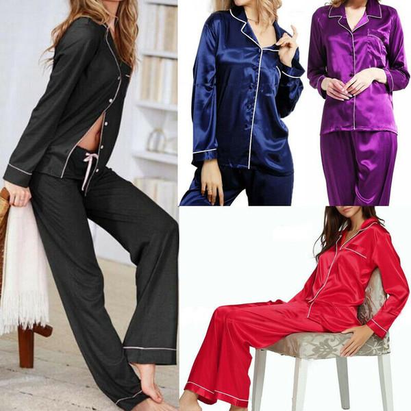 2019 женская длинная пижама с застежкой с длинным рукавом и шелковыми атласными пижамами с брюками AU