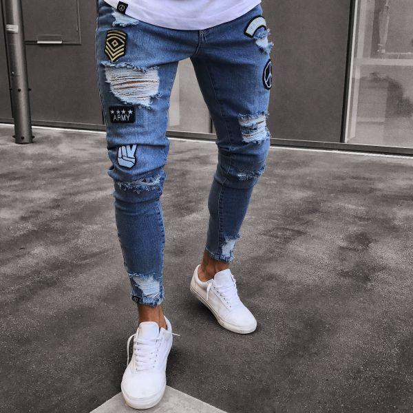 3 Stil Herrenmode Elastic Tear Enge Fahrrad Reiten Stickerei Drucken Jeans Loch Schlank Denim Scratch Qualität Hochwertige Jeans