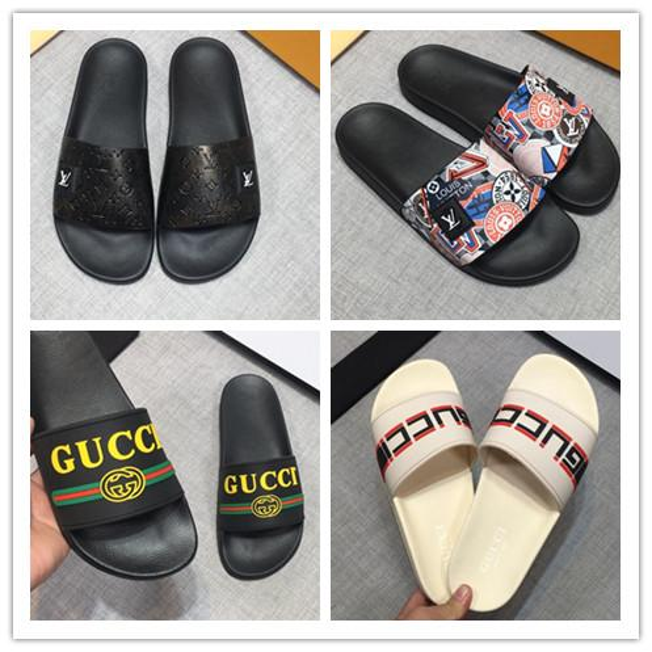 top popular Slide Summer Fashion Wide Flat Slippery With Thick Sandals Slipper Men Women Sandals Designer Shoes Flip Flops Slipper 36-45 2019