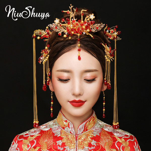 niushuya traditional chinese bride headdress costume hairclips floral hairpin wedding hairwear pgraphy hair stick accessory