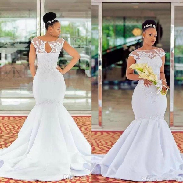South African Robe De Mariage 2019 Mermaid Satin Wedding Dresses Cap Sleeve Lace Appliqued Plus Size Wedding Gowns Sheer Neck Bridal Gowns Mermaid