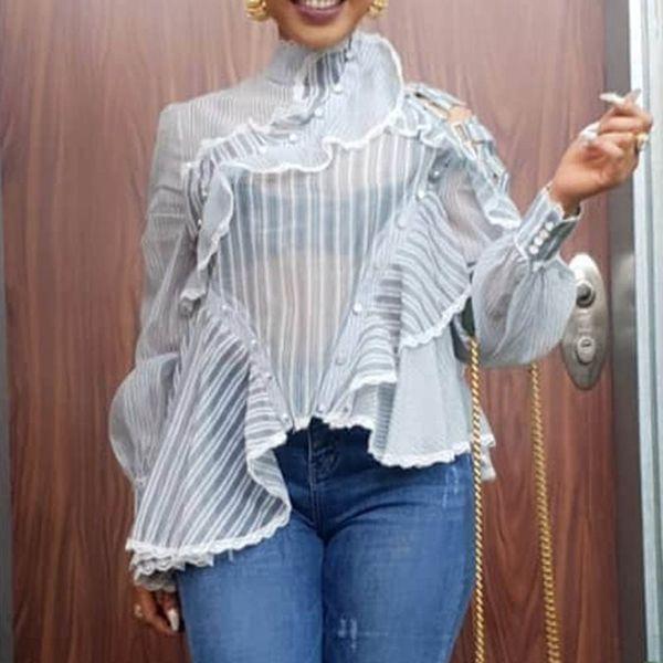 Été élégant bureau Sexy Ladies 'Club de femmes Blouses Casual Taille Plus Slim Blanc Lanterne manches Falbala Mesh Hauts pour femmes Chemises
