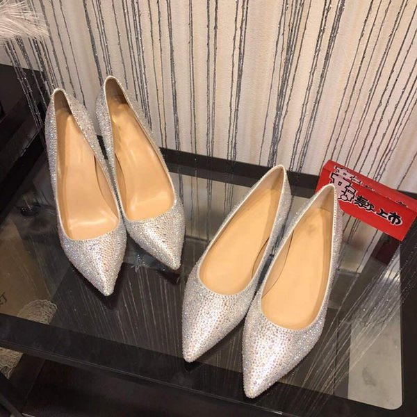 2019 Design fashion spike loafers dress shoes red shoes luxury party wedding shoes leather black white pink crystal lady high heels