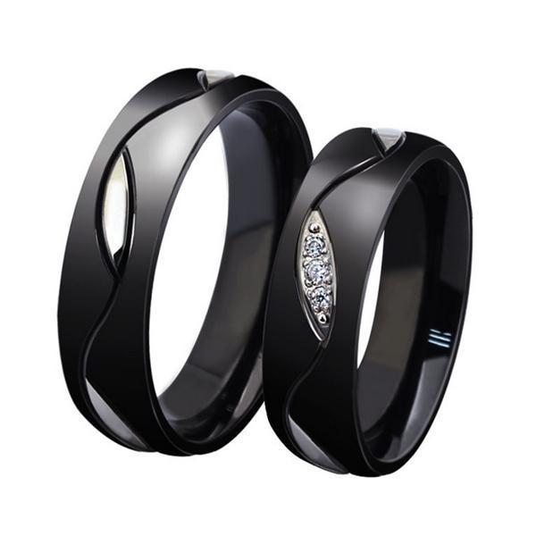 Fashion Design Purity Rings,Elegant Titanium Steel Crystal Black Couple Ring Valentine's Day Gift for Women Men