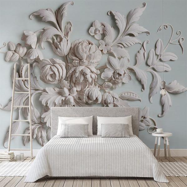 Gewohnheit 3D Mural Geprägte Schöne europäische Pfingstrosen-Blumen-Tapeten-3D Wohnzimmer Schlafzimmer-Hintergrund-Wand-Ausgangsdekoration Fresko
