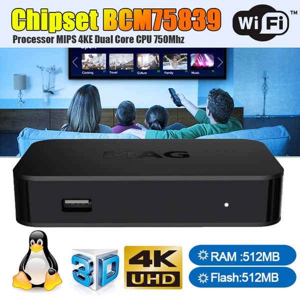 MAG 322 2019 Nuovo arrivo Ultima Linux 3.3 OS Set Top Box MAG322 con built-in WiFi WLAN HEVC H.265 IPTV Box Smart TV Media Player