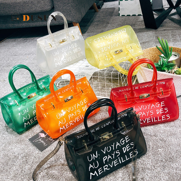 Designer- handle Clear Transparent PVC Shoulder Bags Women Candy Luxury Jelly Bags Purse Solid Handbags Totes Chic Lady Crossbody Bag