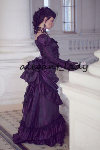 Victorian Gothic corset lace-up Wedding Dresses Retro Royal House Ball Duchess Long Sleeves Lace Ruched Renaissance Aristocracy bride Dress