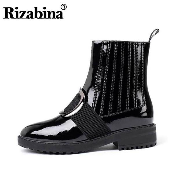 RizaBina en cuir véritable femmes Bottines couleur unie Fermeture à glissière ronde Chaussures Toe Loisirs d'hiver quotidien Femmes Chaussures Taille 34-39