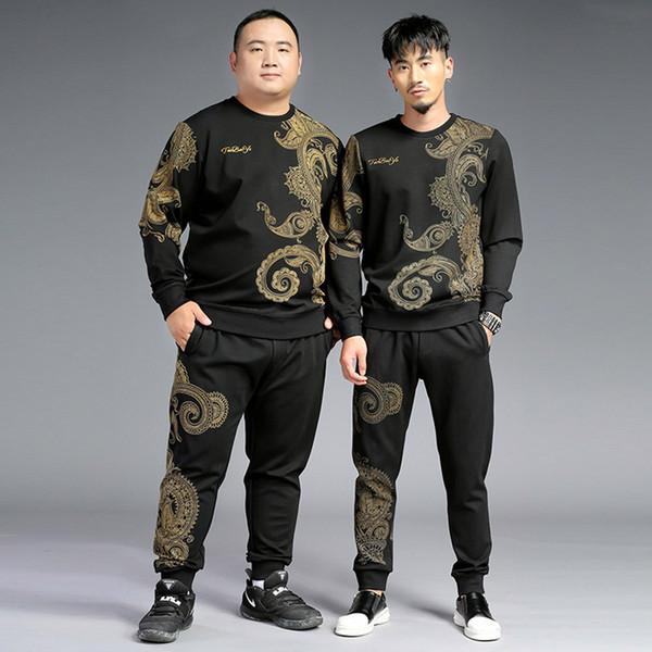 2018 осень новая теплая рубашка брюки на резинке ретро печать мужской костюм очень большой код