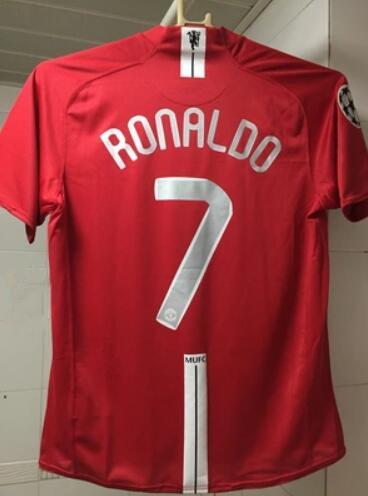 2007 2008 MU FINAL MOSCOW retro soccer jersey Utd football jerseys top quality soccer clothing custom name number Ronaldo 7 ucl