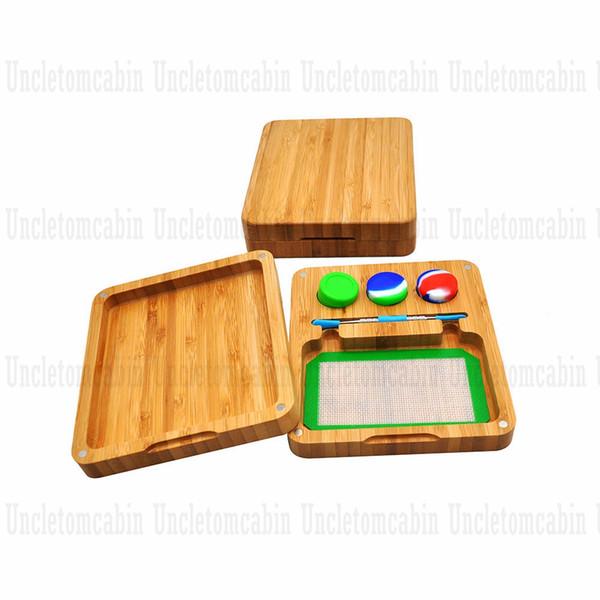 La colofonia de bambú Conjunto de almacenamiento Dab plataformas de silicona Stash Jar + metal Dab cuchara herramienta + antiadherente silicona Formas estera de bambú + Imán de los Rolling Bandejas