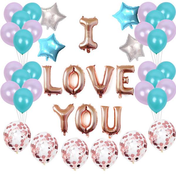 45pcs/set Valentines Day I Love U Air Balloon Happy Birthday Party House House DIY Decor Foil Confetti Balloons Wedding Festival Supply
