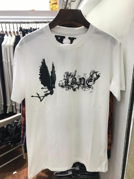 Casal Designer Tshirt 2019 Nova Moda Carta Imprimir + Anjo Padrão Marca T-shirt para Homens Mulheres Preto e Branco Cor Verão Top Atacado.